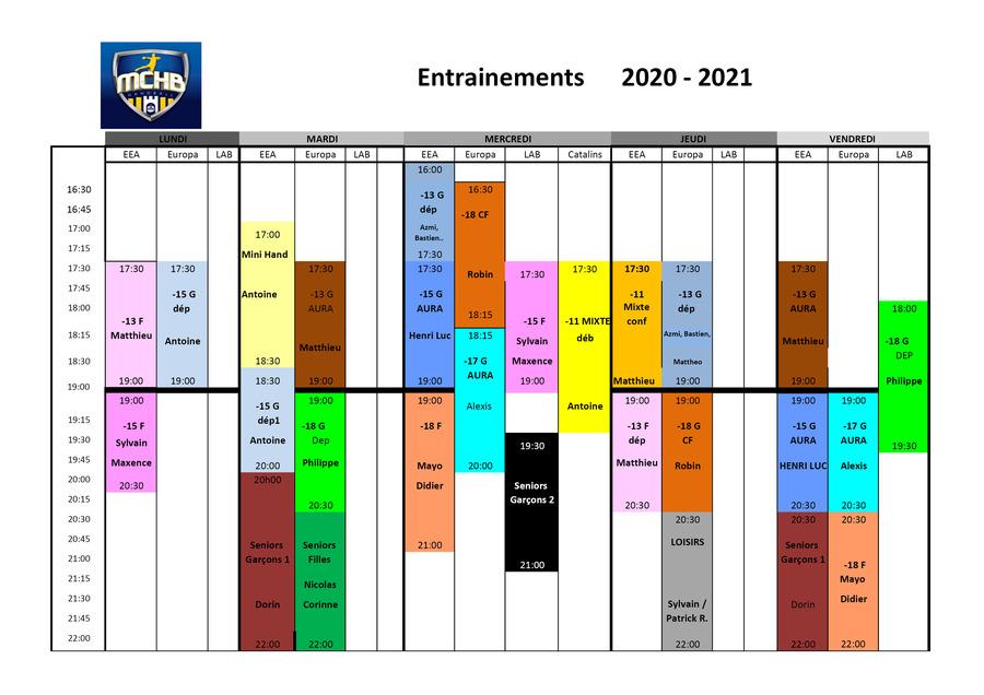 Planning des entrainements 2020/2021