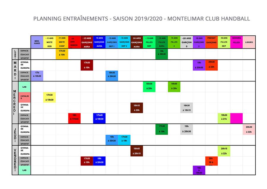 Planning des entraînements 2019-2020